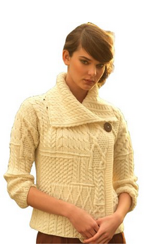 Model wearing an Aran sweater