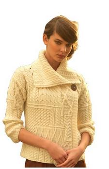 Model wearing an Aran sweater