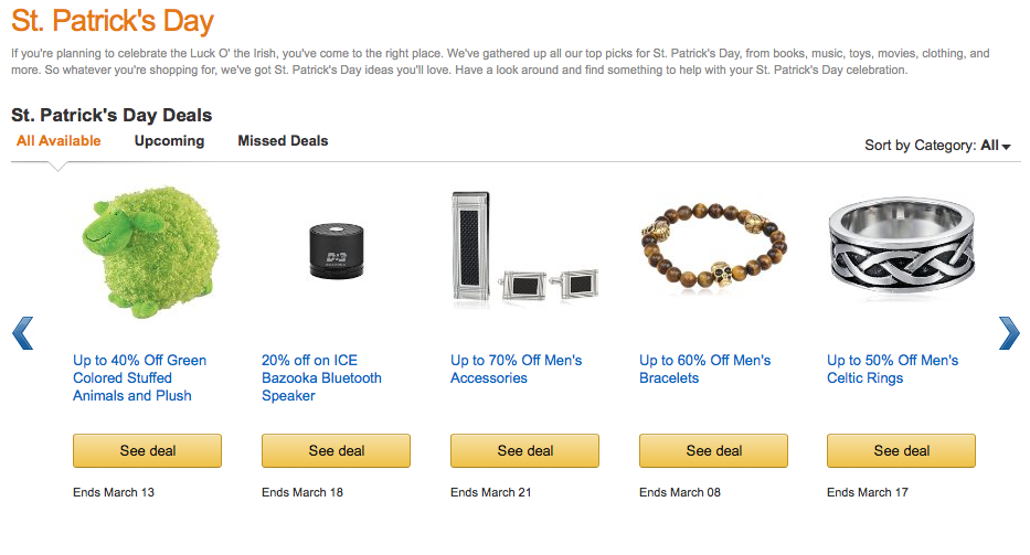 Saint Patrick's Day Amazon screenshot