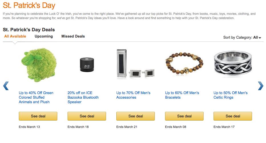 Saint Patrick's Day Amazon screenshot