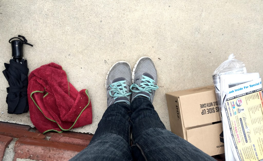 "An umbrella, a box, or 11"" for your feet? Whatever it takes to hold your spot."
