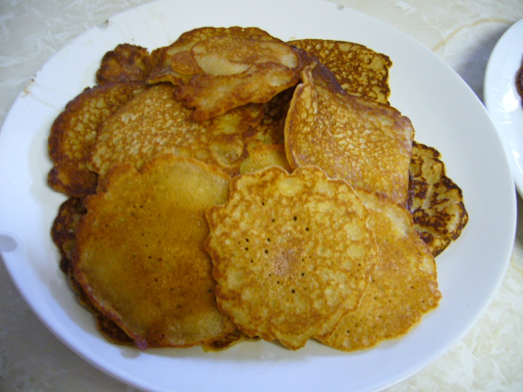 Finished batch of golden pancakes.